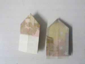 Origami: Klappnummer 3 aus der Rechnung - Schrëtt 5