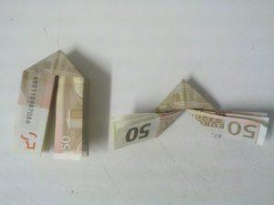 Origami: Klappnummer 3 aus der Rechnung - Schrëtt 6