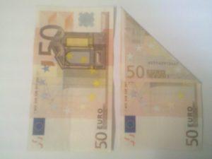 Origami Frosch aus Geldscheinen falten - Schritt 1