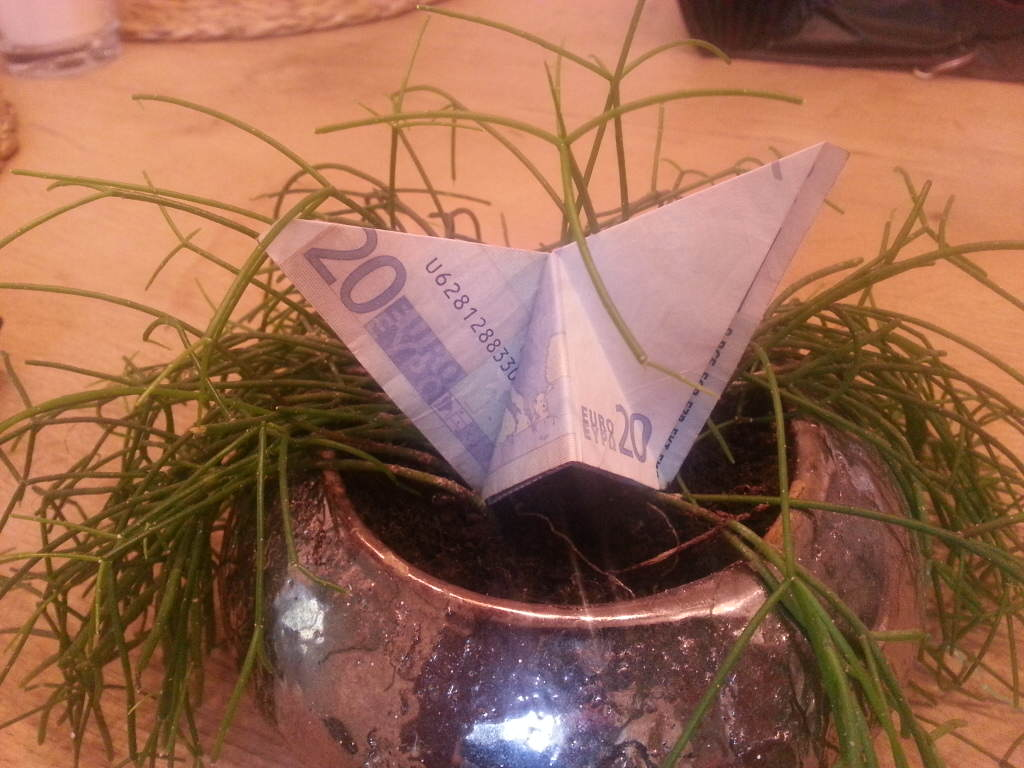 Money butterfly - samo presavijeni