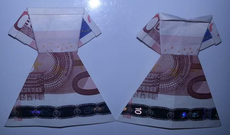 Kleid Aus Einem Geldschein Falten Origami Mit Geldscheinen