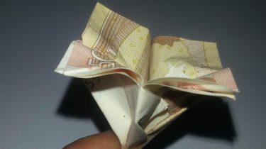 eine einfache Blume aus einem gefalteten Geldschein