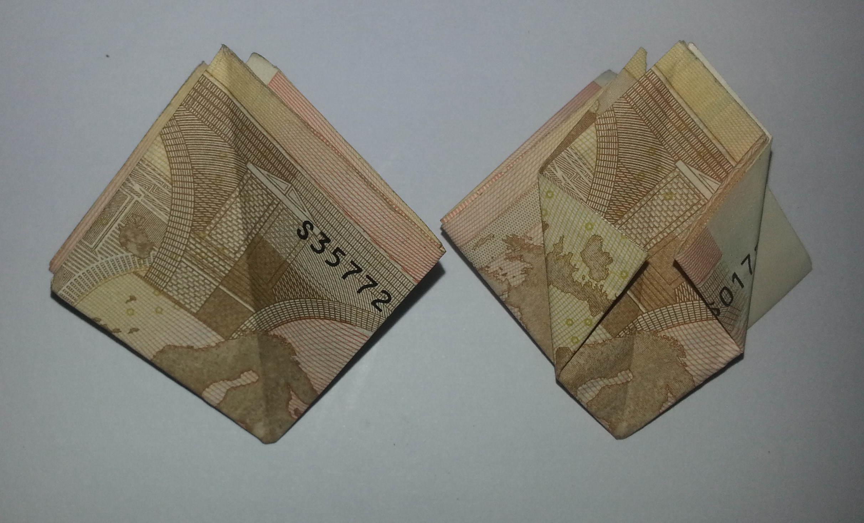blume aus einem geldschein falten schritt 6 origami mit geldscheinen. Black Bedroom Furniture Sets. Home Design Ideas
