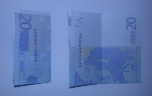 Fold ship from a banknote: Step 2