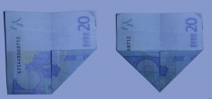 Fold ship from a banknote: Step 3