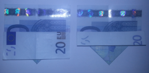 Fold ship from a banknote: Step 4