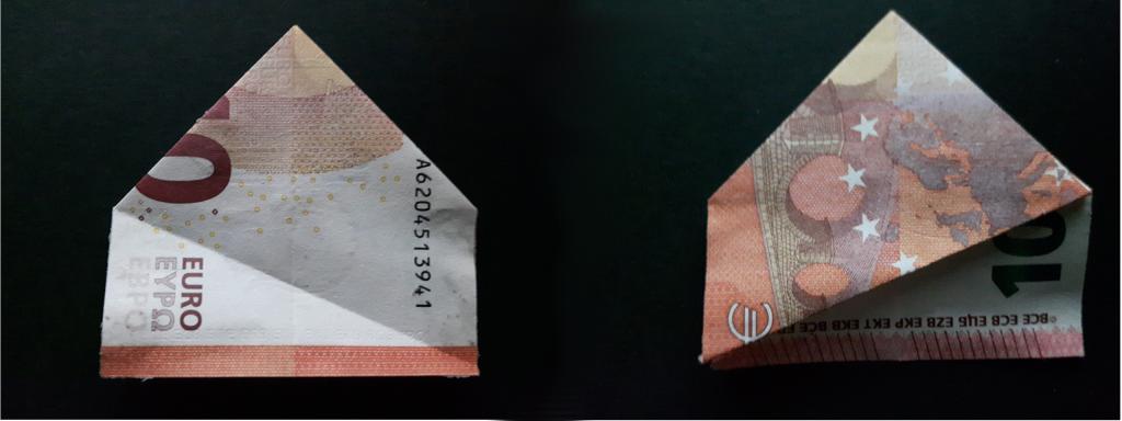 Pirámide plegable de un billete - paso 14