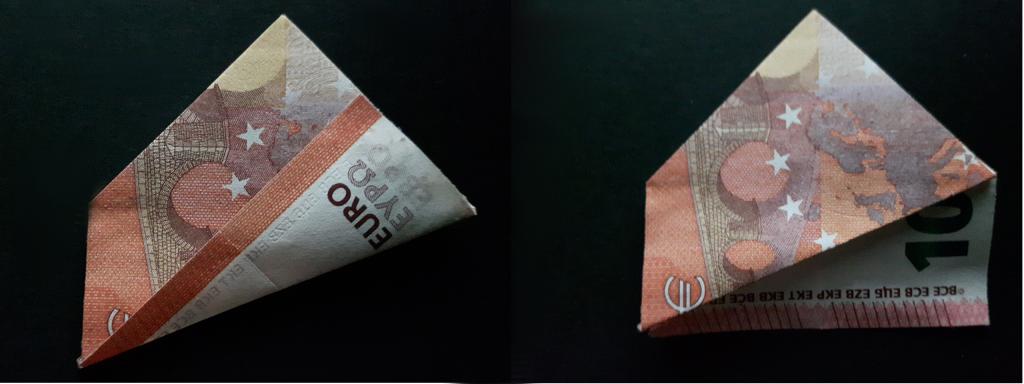 Pirámide plegable de un billete - paso 15