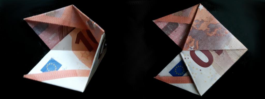 Pirámide plegable de un billete - paso 17