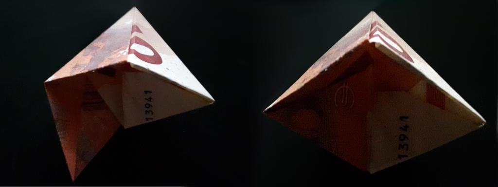 Összecsukható piramis a számlától - 19 lépés