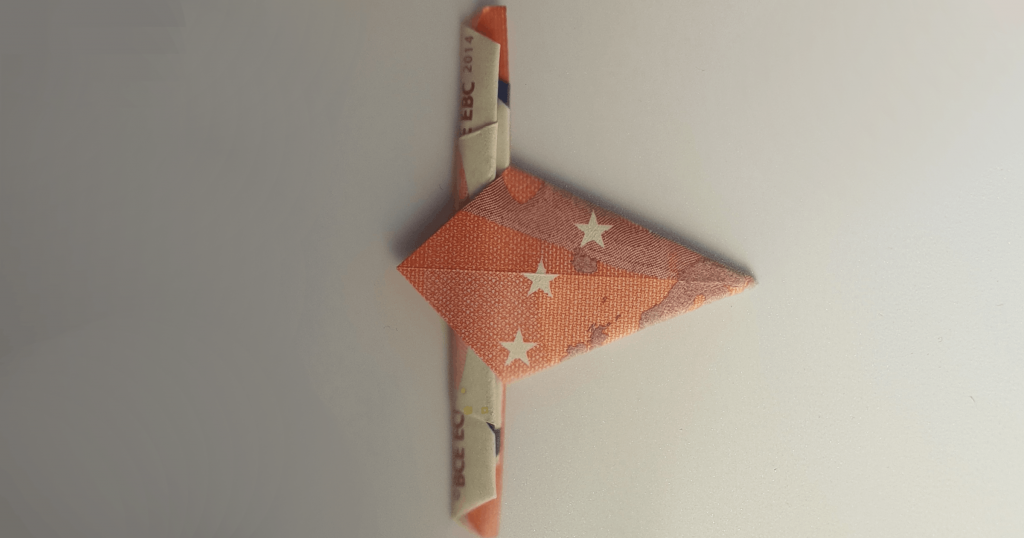 Folding star from 5 bills - step 13