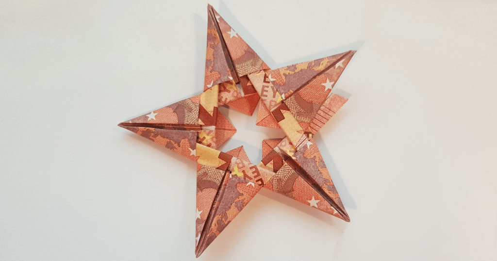Folding star from 5 bills - step 19