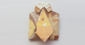 Shirt with tie folded from bank note - rectangular