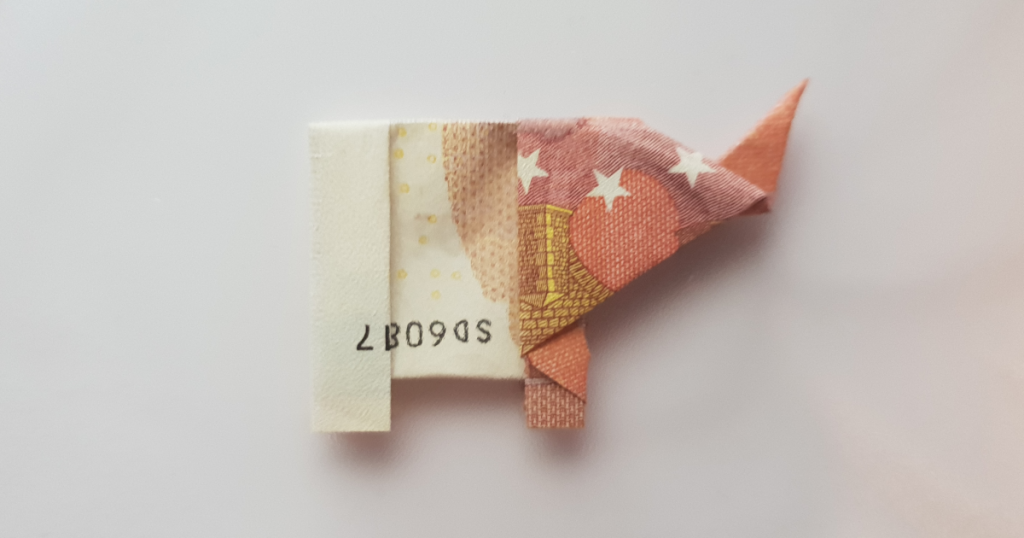 Folding Elephant out of a Banknote - Step 31