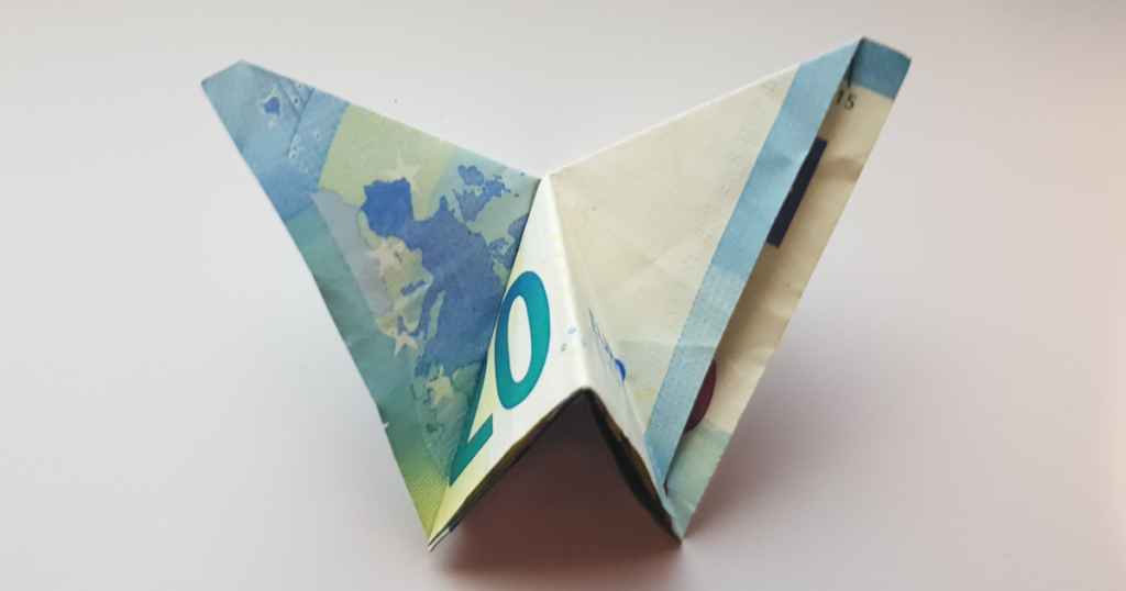 Butterfly folded from bank note