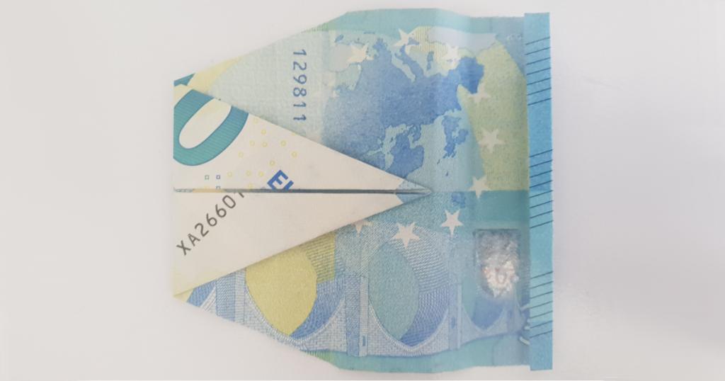 Сгъваем паун от банкнота - стъпка 14