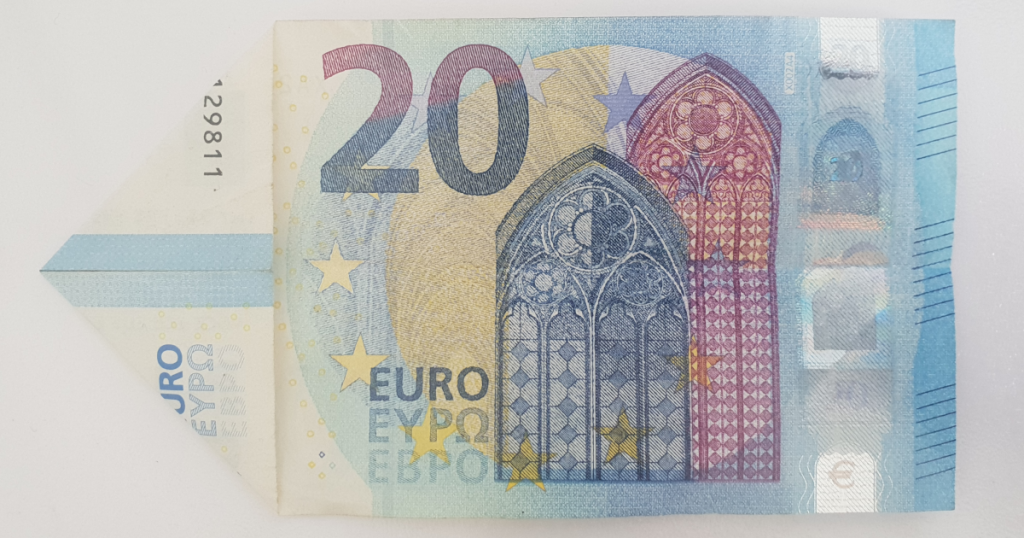 Сгъваем паун от банкнота - стъпка 4