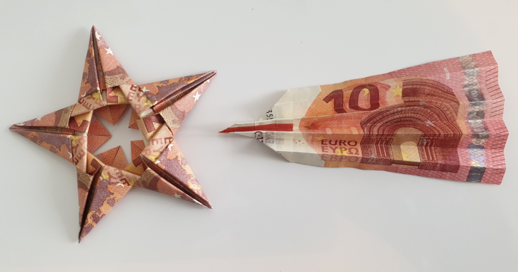 Dobrar unha estrela que cae das billetes - paso 13